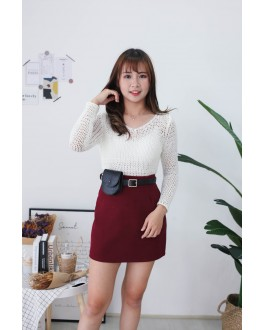 Korea Basic High Waist Skirt With Leather Belt Bag (Maroon)