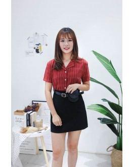 Korea Basic High Waist Skirt With Leather Belt Bag (Black)