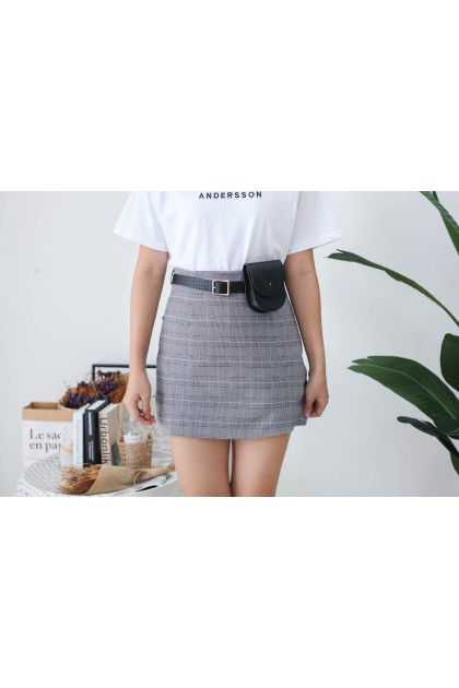 Korea Checks High Waist Skirt With Leather Belt Bag (Black)