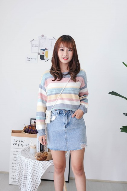 Korea White Pocket Ripped High Waist Denim Skirt (Blue)