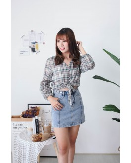 Korea Adjustable Button High Waist Denim Skirt (Blue)