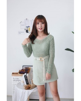 Korea A Line High Waist Skirt With Rope Ring Belt (Green)