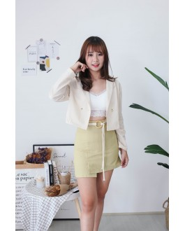 Korea A Line High Waist Skirt With Rope Ring Belt (Yellow Green)