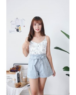 Korea Ribbon Tie Rubber Waist High Waist Short Pant (Grey Blue)