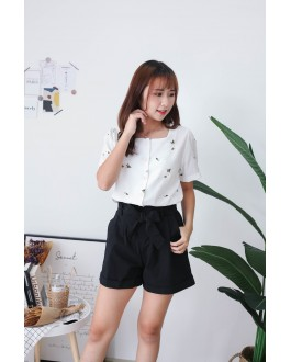 Korea Ribbon Tie Rubber Waist High Waist Short Pant (Black)