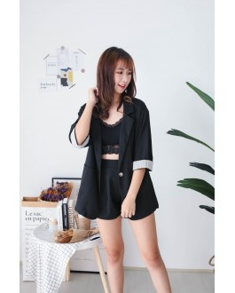Korea Stripe Coat + Rubber Short Pant [Set] (Black)