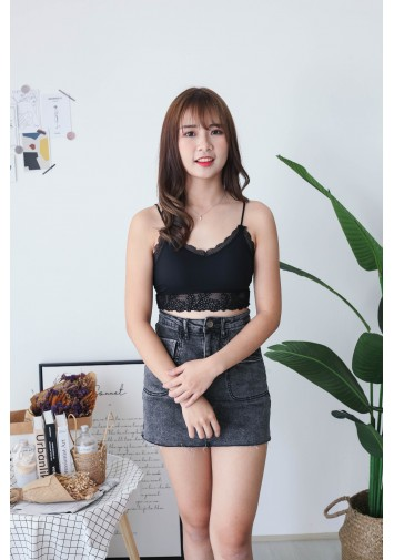 Korea Elastic Lace Bra Tube (Black)