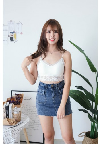Korea Elastic Lace Bra Tube (White)