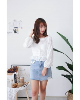 Korea Button Front Long Sleeve Top (White)