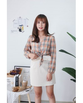 Korea Checks Button Front Ribbon Tie Long Sleeve Top (Orange)
