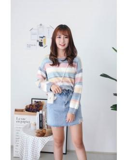 Korea Rainbow Stripe Long Sleeve Knit Top (Blue)