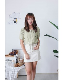 Korea Vintage Style Flower Button Front Top (Green)