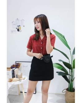 Korea Checks Short Sleeve Blouse (Brick)