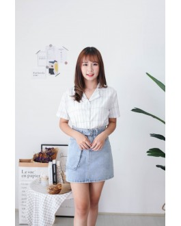 Korea Checks Short Sleeve Blouse (White)