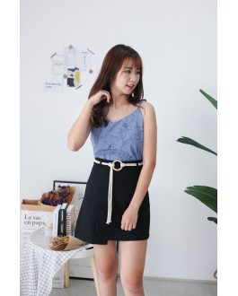Korea Drawing Flora Adjustable Strap Sleeveless Top (Blue)