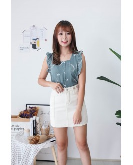 Korea Leaf Fluted Sleeveless Top (Green)