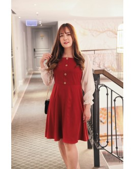 Korea Square Neck Button Front Bling Chiffon Sleeve Dress (Maroon)