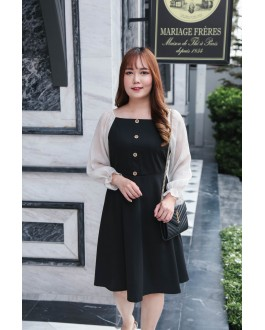 Korea Square Neck Button Front Bling Chiffon Sleeve Dress (Black)
