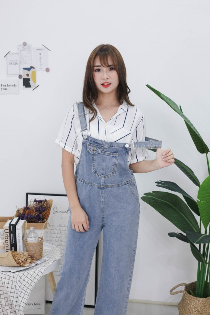 Korea Stripe Knot Button Front Rubber Waist Top (White)