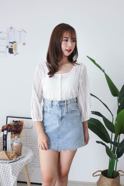 Korea Crochet Hollow Lace Button Front Long Sleeve Top (White)