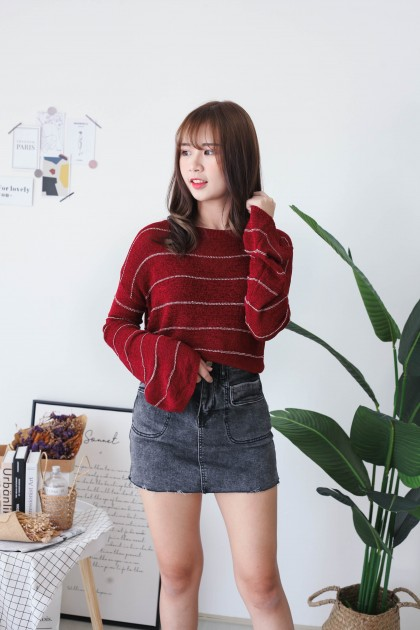 Korea Stripe Long Sleeve Knit Top (Maroon)