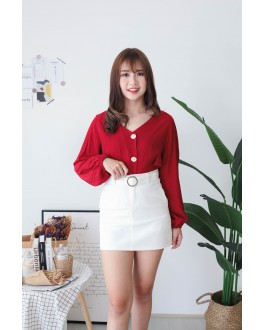 Korea V Neck Button Front Back With Ribbon Blouse (Maroon)