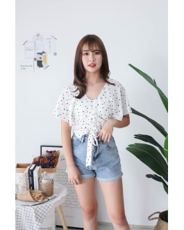 Korea Love Lace Up Top (White)