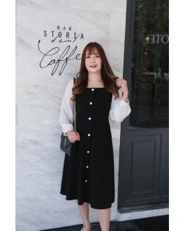 Korea Button Front Chiffon Long Sleeve Midi Dress (Black)