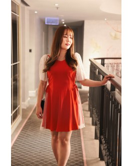 Korea Pearl & Mess Trim Short Sleeve Ribbon Tie Waist Dress (Red)