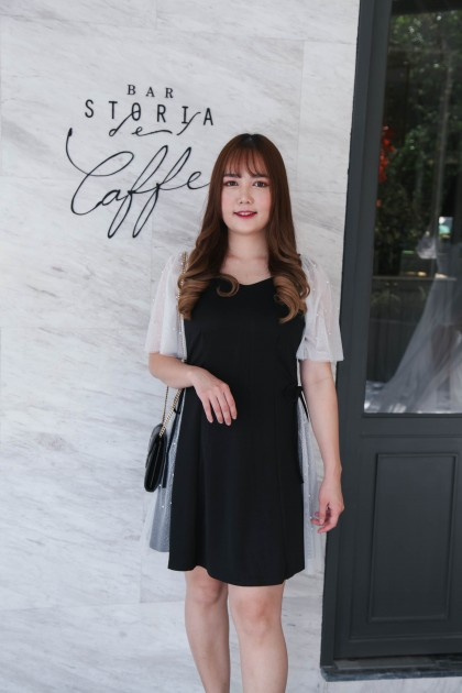 Korea Pearl & Mess Trim Short Sleeve Ribbon Tie Waist Dress(Black)