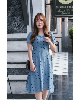 Korea Polka Dot Button Front Short Sleeve Dress (Blue)
