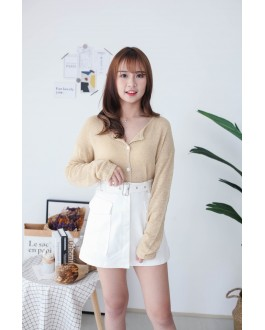 Korea Pocket With Belt High Waist Skirt (White)