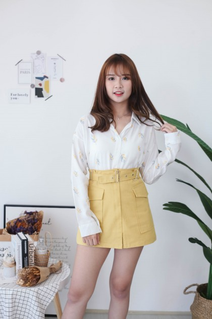 Korea Pocket With Belt High Waist Skirt (Mustard)