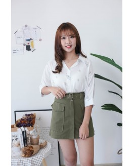 Korea Pocket With Belt High Waist Skirt (Army Green)