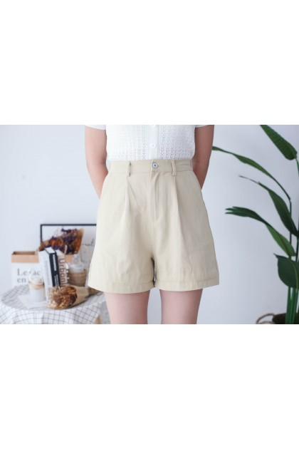 Korea -5kg Basic Double Pocket Rubber High Waist Wide Leng Short Pant (Khaki)