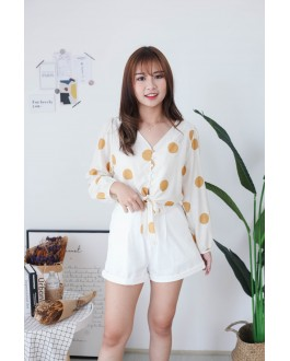 Korea -5kg Basic Double Pocket Rubber High Waist Wide Leng Short Pant (White)