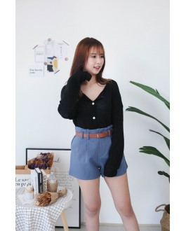Korea Basic Pocket High Waist Wide Leg Short Pant With Belt (Blue)