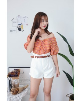 Korea Basic Pocket High Waist Wide Leg Short Pant With Belt (White)