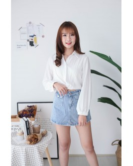 Korea High Waist Denim Skort Pant (Blue)