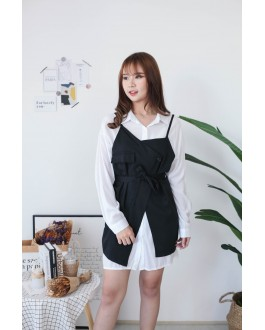 Korea Long Blouse + Sleeveless Button Vest With Belt [Set] (Black)