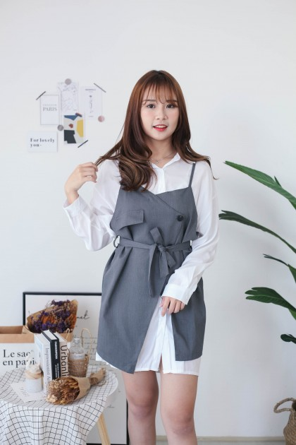 Korea Long Blouse + Sleeveless Button Vest With Belt [Set] (Grey)