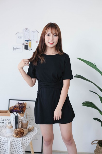 Korea Basic Cross Waist Tie Elastic Dress (Black)