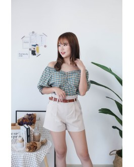 Korea Checks V Neck Button Front Short Sleeve Top (Green)