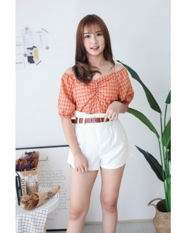 Korea Checks V Neck Button Front Short Sleeve Top (Orange)
