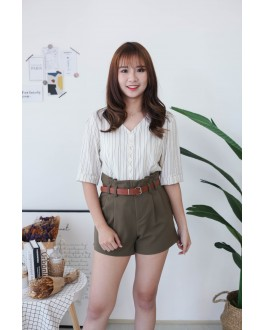 Korea Stripe Button Front Self Tie Ribbon Top (Beige)