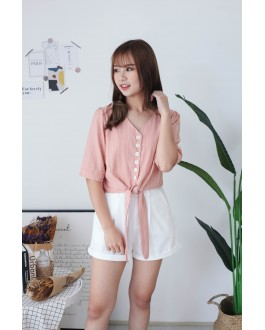 Korea Stripe Button Front Self Tie Ribbon Top (Peach)