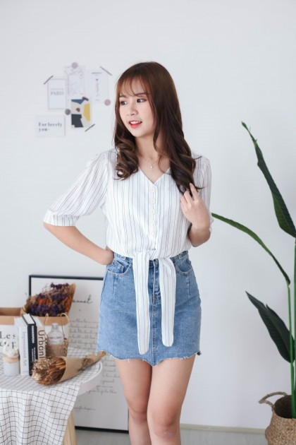 Korea Stripe Button Front Self Tie Ribbon Top (White)
