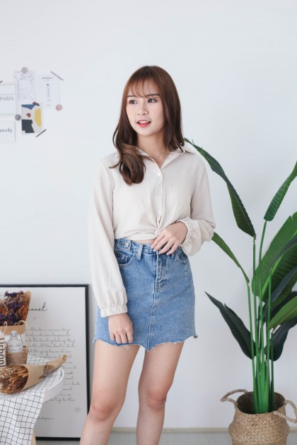 Korea Knot Rubber Waist Long Sleeve Blouse (Khaki)