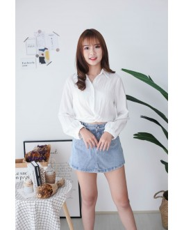 Korea Knot Rubber Waist Long Sleeve Blouse (White)