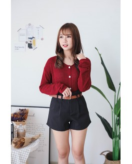 Korea Button Front Ribbon Tie Long Sleeve Knit Top (Maroon)